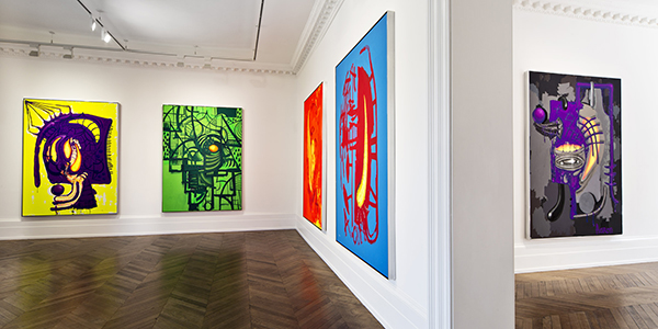 Aaron-Curry-Paintings-at-Michael-Werner-Gallery-London.-Installation-View-2